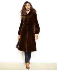 Jones New York Hooded Faux-Fur Maxi Coat - Lyst