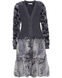 Nina Ricci Wool And Fur Cardigan - Lyst