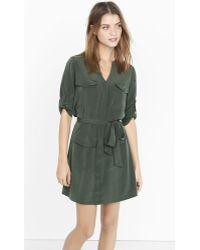 Express - Olive Military Shirt Dress - Lyst