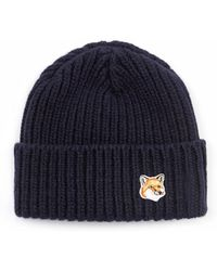 Maison Kitsuné Fox-embroidered Beanie Hat - Lyst