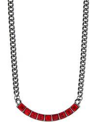 Kensie Rhinestone Chain Necklace - Lyst