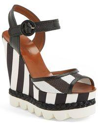 Dolce & Gabbana Stripe Platform Wedge Sandal - Lyst