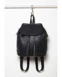 Forever 21 Faux Leather Drawstring Backpack in Black | Lyst