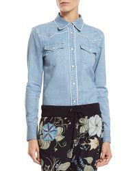 Gucci Bleach Washed Denim Shirt - Lyst