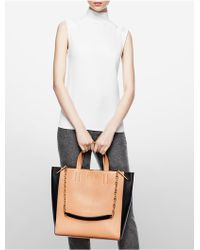 Calvin Klein Collection Two-Tone Calf Tote With Chain Strap - Lyst