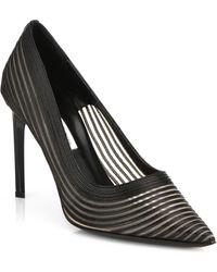 Diane von Furstenberg Bridgette Leather & Mesh Point-Toe Pumps - Lyst