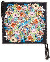 Roberto Cavalli | Flower Power Leather-fringed Silk Scarf | Lyst
