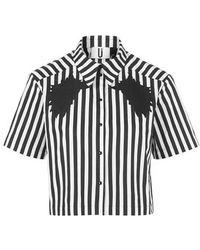 Topshop Monochrome Striped Shirt By Unique - Lyst