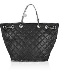 Stella McCartney Chain Embellished Quilted Faux Leather Tote - Lyst