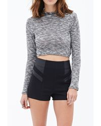 Forever 21 Faux Leather Paneled Shorts - Lyst