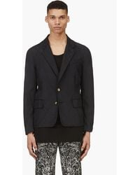 Alexander McQueen Black Washed Silk Raw Edge Blazer - Lyst