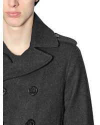 Diesel Wool Felt & Denim Details Peacoat gray - Lyst