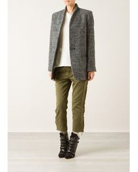 Isabel Marant Anthracite Grey Etta Coat in Blendedwool Tweed - Lyst