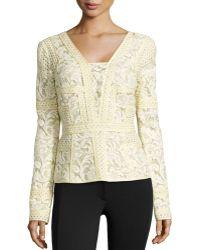 J. Mendel Long-Sleeve Floral Lace Top - Lyst