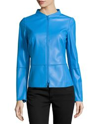 Lafayette 148 New York Moto Seamed Leather Jacket - Lyst