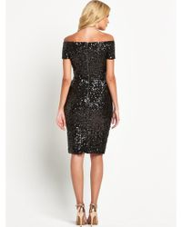 French Connection Off Shoulder Sequin Midi Dress - Lyst