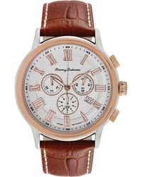 Tommy Bahama - Womens Swiss Chronograph Light Brown Leather Strap Watch 46mm - Lyst