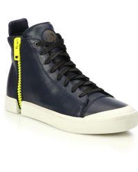DIESEL | Nentish Zip-around Leather High-top Sneakers | Lyst