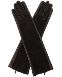 Balenciaga Leather and Suede Long Gloves - Lyst