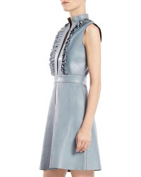 Gucci Leather Ruffle Front Sleeveless Dress - Lyst