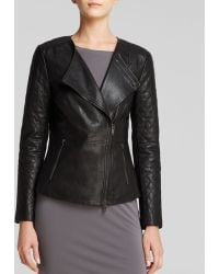 DKNY Quilted Sleeve Leather Jacket - Lyst