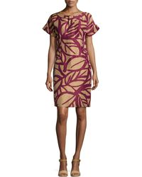 Lafayette 148 New York Printed Short-Sleeve Shift Dress - Lyst