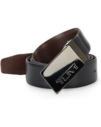 Tumi - Plaque Buckle Reversible Textured Leather Belt - Lyst