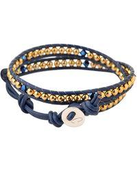 Colana - Leather Wrap Bracelet With Swarovski - Lyst