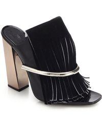 Proenza Schouler Metal-Bar Suede Fringed Mule Sandals black - Lyst