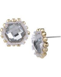 Sam Edelman Fabric and Geometric Stone Stud Earrings - Lyst