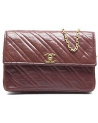 Chanel Pre-owned Red Lambskin Vintage Flap Bag - Lyst