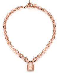 Michael Kors Rose & Blush Padlock Chain Necklace - Lyst