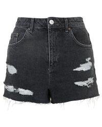 Topshop Moto Black Ecru Mom Shorts black - Lyst