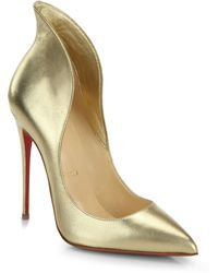 Christian Louboutin - Mea Culpa Metallic Leather High-back Collar Pumps - Lyst