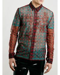 Topman Tmd Red Checked Shirt and T-shirt - Lyst