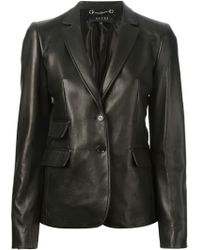 Gucci Leather Blazer Jacket - Lyst