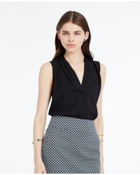 Ann Taylor Shoulder Pleat Crepe Shell black - Lyst