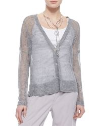 Eileen Fisher Deep-V-Neck Rustic Sheer Cardigan - Lyst
