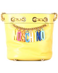 Moschino Small Yellow Tote Bag With Charms Logo yellow - Lyst