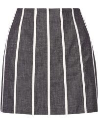 Victoria Beckham Striped Denim Mini Skirt - Lyst
