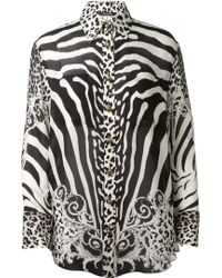 Balmain Black and White Animal Printed Silk Shirt - Lyst