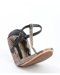 Yosi Samra Beige and Black Snake Embossed Leather Stretch Erica T-strap Flats - Lyst