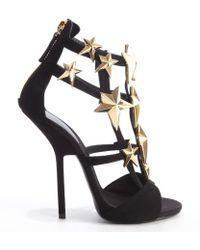 Giuseppe Zanotti Black Suede Star Studded 'Aliek' Platform Sandals - Lyst