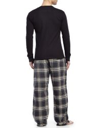 U.S. POLO ASSN. - Black Thermal Top & Flannel Pajama Set - Lyst