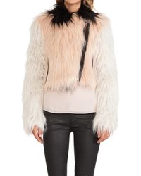 Chaser Colorblocked Faux Fur Moto Jacket - Lyst