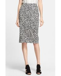 Veronica Beard Tiger Pattern Cotton Pique Pencil Skirt - Lyst