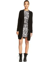 DKNY Long Button Front Cardigan - Lyst