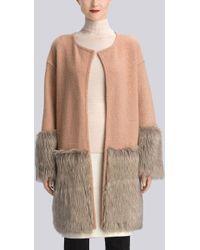 Natori Boiled Wool Faux Fur Trim Coat - Lyst