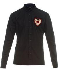 Balmain Crest-Embellished Cotton Shirt - Lyst