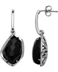 Lord & Taylor - Sterling Silver Black Onyx And Diamond Drop Earrings - Lyst